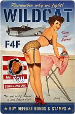 Wildcat F4F Pinup rusted metal sign (pst 1812)