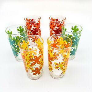 Set of 6 Vintage Mid Century Retro Flower Power High Ball Tumbler Glasses