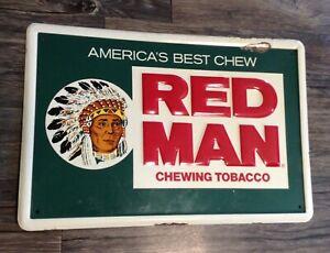 Vintage original metal advertising sign RED MAN CHEWING TOBACCO