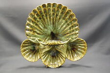 California Pottery Large Green Scalloped Sea Shell Platter, Serving Dish Pearls