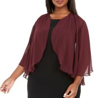 Alex Evenings Women's Bolero Jacket Fig Purple Size 2X Plus Chiffon $69 #221