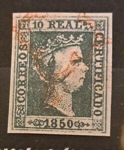 Edifil 5 usado araña roja 1850 ISABEL II 10 reales pieza de lujo España Spain