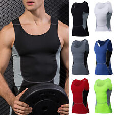 Mens Compression Base Vest Sports Fitness Gym Jogging Summer T Shirts Tank Tops