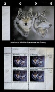 Manitoba #12M 2005 Loups Conservation Tampon Mini Feuille De 4 IN Dossier