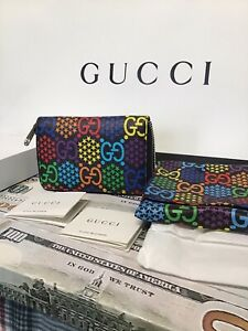 GUCCI GG PSYCHEDELIC Zip Around Card Case Wallet sold Out Discontinued Item NEW
