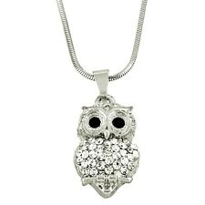 """Owl Charm Pendant Fashionable Necklace - Sparkling Crystal - 17"""" Chain"""