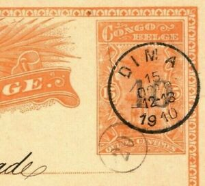 Belgium Colonies CONGO Stationery 15c Card Scarce *10* SURCHARGE Dima 1910 FC195
