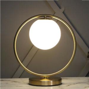 Modern Single White Glass Globe Metal Round Ring Table Lights Reading Night Lamp