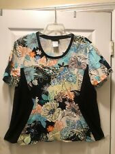 Cherokee Size 2Xl 100% Cotton Multi Color/Black Panels Women Scrub Top