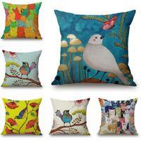 Pillow Case Car Cotton Linen Birds Home Decor Oil Paintings Cushion Cover Sofa