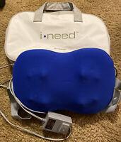 Brookstone  I-NEED Lumbar Back Massage Pillow Massager w/Travel Bag