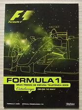 Español Grand Prix Formula One F1 2009 Catalunya Programa Oficial