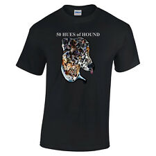 More details for fifty hues of hound greyhound tshirt black t-shirt unisex crew v neck tee shirt