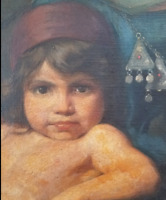 RARE ANTIQUE EASTERN ORIGINAL OIL PAINTING CHILD 1880 PORTRAIT COUNTRY PRIMITIVE