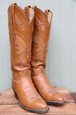 VTG 50's Tony Lama Tan Brown Leather Butterfly Tall Western Cowboy Boots SZ 6B