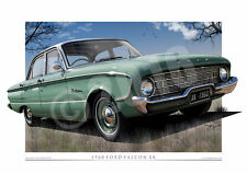 XK Falcon Print - 1960 Ford Falcon Car Drawing in A3, A2 and A1 ( 9 Colours )
