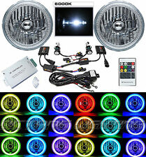 """7"""" RGB SMD Multi-Color White Red Blue Green LED Halo Angel Eye 6K HID Headlights"""