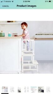kisds kitchen step stool with safety Rail Solid Bamboo Construction (white )