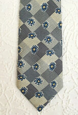 Mens check tie Blue flowers on smooth pure silk DEBENHAMS