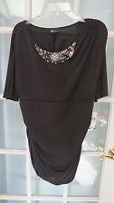 NWT AB Studio black stretch top Crystals rhinestones shirt pullover ladies XL