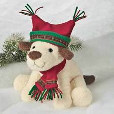 Mary Meyer Puppy Dog Holiday Cream Brown Red Green Playful Pup Stuffed NEW
