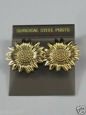 NEW Sunflower Earrings Surgical Steel Post-14K Gold Overlay-Made in USA