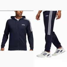 Adidas Climalite 3-stripes Mens Tracksuit Terry Hoodie Joggers Set Blue Ink  LRG