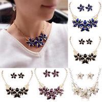 Damen Kristall Blume Statement Halskette Ohrring Collier Braut Brautschmu D P7E6