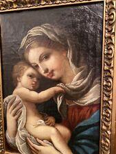 Antikes Gemälde um 1800 Madonna mit Kind Ölbild Heiligendarstellung Prunkrahmen
