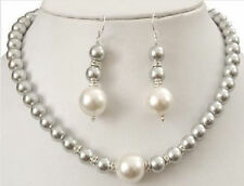 "AAA+ 8mm 24"" south sea Gray shell pearl necklace +earring"