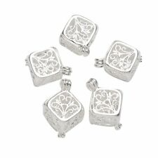 5pcs Silvr Brass Cube Magic Locket Essential Oil Diffuser Pendant Charms