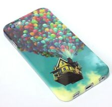For iPhone 6 / 6S - HARD TPU RUBBER GUMMY SKIN CASE COVER UP BALLOONS HOUSE BLUE