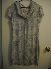 Decree Junior's Sweater Dress Size L Gray/White Lace Print Banded Bottom Cowl