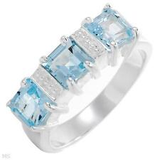 Square Topaz band sz.7 Sterling Silver 3 Stone