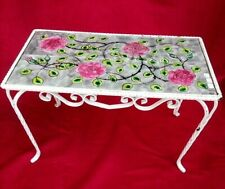 Pretty Coffee Table Iron With Check Decor de Roses, Table Jardin