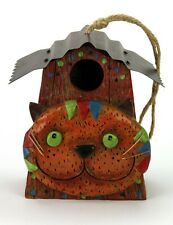 """Cat Face Birdhouse Resin with metal roof and copper whiskers 6-1/2"""""""