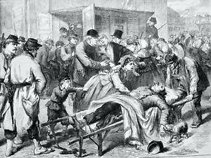 1871 Print FRANCE CIVIL WAR - PARIS & THE RETURN OF WOUNDED Franco Prussian War