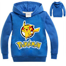 Unisex Kids Pokemon Pullover Jumper Tops Shirt Pikachu Hoodies Blouse Sweatshirt