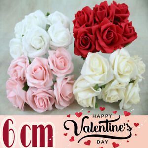 6cm Plain Artificial Foam Flower With Stem Rose Red & White Valentine's Day Gift