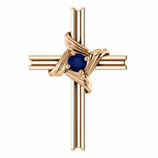 Genuine Blue Sapphire Cross Pendant In 14K Rose Gold