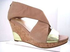 COLE HAAN Nke Air Beige Gold Metallic Leather Back Zip Cork Wedges Size 7 B