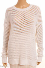 VINCE White 100% Cotton Eyelet Chunky Knit Loose Fit Crew Neck Sweater M