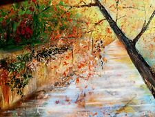 Original acrylic painting on canvas. Autumn. Signed. AkaluStudio. 30 /20 inches.