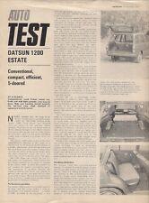 Nissan Datsun 1200 Sunny Estate Road Test 1971-72 UK Market Brochure Autocar