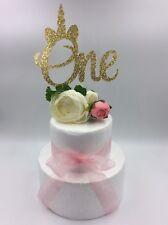 1Pc Cake Topper Unicorn One Baby Girl Boy Glitter Gold Birthday Party Supply