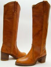 WOMENS VTG MISS CAPEZIO TALL CAMPUS BROWN LEATHER COWBOY WESTERN BOOTS 5.5~1/2 M