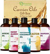 Carrier Oils 5 pk Variety Set 4Oz ea Best Oils for Body Massage Dry Skin Hair