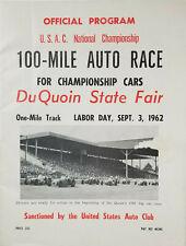 DuQuoin State Fair Rare 1962 USAC 100 Mile Auto Race Souvenir Program