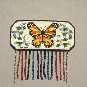 Vintage Hand Crafted Butterfly Hair Barrette Beaded Cross Stitch OOAK