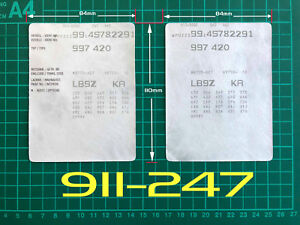 Porsche 911 997 VIN Data Maintenance Service Book Car Labels Stickers